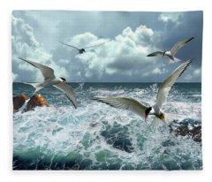 Terns In The Surf Fleece Blanket