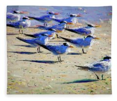 Terns On The Beach Fleece Blanket