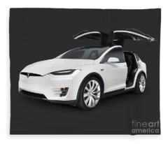 Tesla Model X Luxury Suv Electric Car With Open Falcon-wing Doors Art Photo Print Fleece Blanket