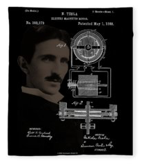 Tesla Motor Patent Drawing Fleece Blanket