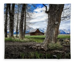 Teton Barn #2 Fleece Blanket