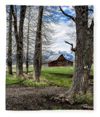 Teton Barn #3 Fleece Blanket