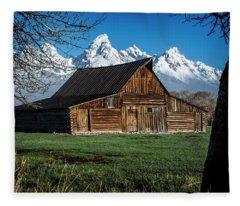 Teton Barn #4 Fleece Blanket