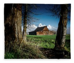 Tetons And Moulton Barn Fleece Blanket