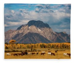 Teton Horse Ranch Fleece Blanket