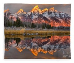 Teton Mountains Sunrise Rainbow Fleece Blanket