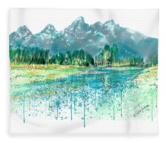 Teton National Park Skyline Painting I Fleece Blanket