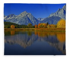 Tetons From Oxbow Bend Fleece Blanket