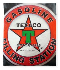 Texaco Sign Fleece Blanket