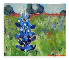 Texas Blue Bonnet Fleece Blanket