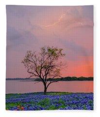 Texas Bluebonnets And Lightning Fleece Blanket