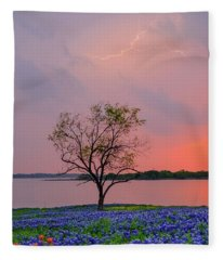 Texas Bluebonnets And Lightning Fleece Blanket