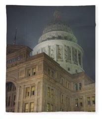 Texas Capitol In Fog Fleece Blanket