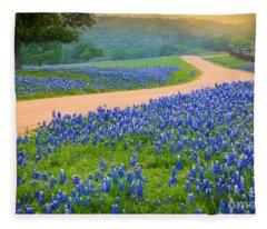 Texas Country Road Fleece Blanket