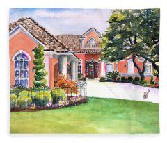 Texas Home Spanish Tuscan Architecture  Fleece Blanket