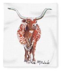 Texas Longhorn Taking The Lead Watercolor Painting By Kmcelwaine Fleece Blanket