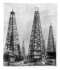 Texas: Oil Derricks, C1901 Fleece Blanket