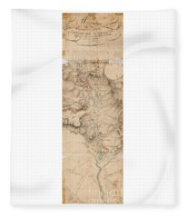 Texas Revolution Santa Anna 1835 Map For The Battle Of San Jacinto With Border Fleece Blanket