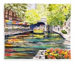 Texas San Antonio River Walk Fleece Blanket