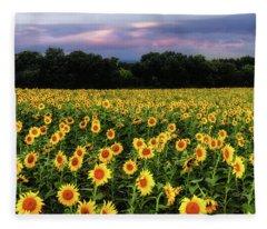 Texas Sunflowers Fleece Blanket