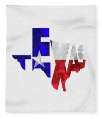 Texas Typographic Map Flag Fleece Blanket