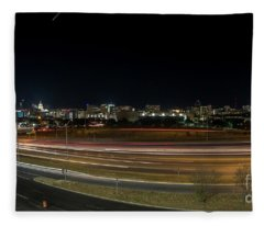 Texas University Tower And Downtown Austin Skyline From Ih35 Fleece Blanket