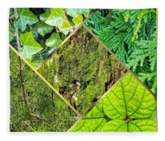 Textures In Shades Of Green Fleece Blanket