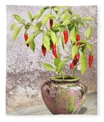 Thai Chili Plant In Pot Fleece Blanket