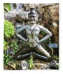 Thai Yoga Statue At Wat Pho Fleece Blanket