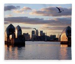 Thames Barrier And Seagulls Fleece Blanket
