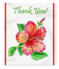 Thank You Hibiscus  Fleece Blanket