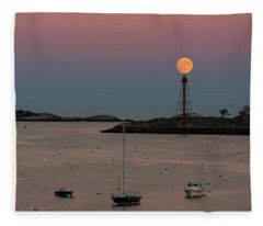 The 2016 Supermoon Balancing On The Marblehead Light Tower In Marblehead Ma Fleece Blanket