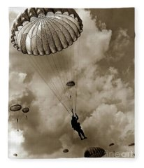 The 82nd Airborne  Hits The Silk Fort Ord 1953 Fleece Blanket