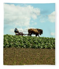 The Amish Farmer With Horses In Tobacco Field Fleece Blanket