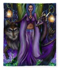 The Animal Goddess Fantasy Art Fleece Blanket