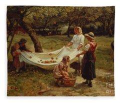 The Apple Gatherers Fleece Blanket