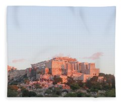 The Athens Accropolis At Sunset Fleece Blanket