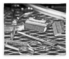 The Barber Shop 10 Bw Fleece Blanket