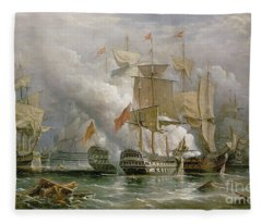 The Battle Of Cape St Vincent Fleece Blanket