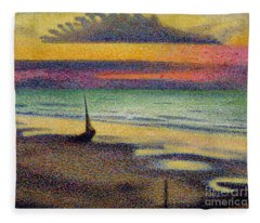 The Beach At Heist Fleece Blanket
