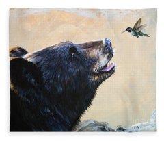 The Bear And The Hummingbird Fleece Blanket