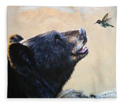 The Bear And The Hummingbird Fleece Blanket