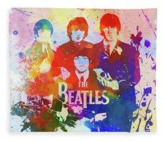 The Beatles Paint Splatter  Fleece Blanket