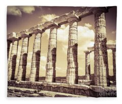 The Beauty Of The Temple Of Poseidon Fleece Blanket