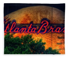 The Big Ball Atlanta Braves Baseball Signage Art Fleece Blanket