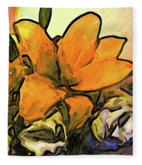 The Big Gold Flower And The White Roses Fleece Blanket