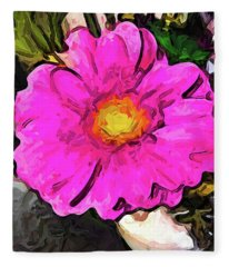 The Big Pink And Yellow Flower In The Little Vase Fleece Blanket