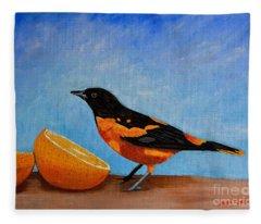 The Bird And Orange Fleece Blanket