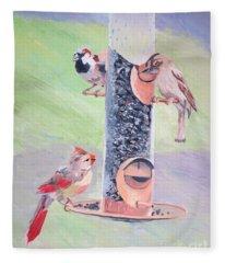 The Bird Feeder Fleece Blanket