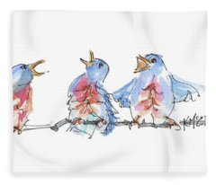 The Birds And The Bee Bird Art Watercolor Painting By Kmcelwaine Fleece Blanket